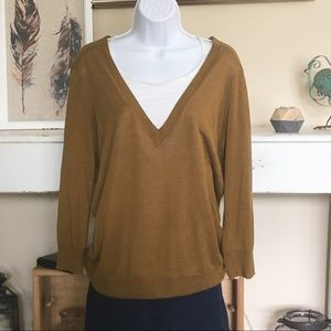 J. CREW Brown V-Neck Pullover Thin Sweater